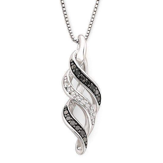 1/10 CT. T.W. White & Color-Enhanced Black Diamond Swirl Pendant Necklace