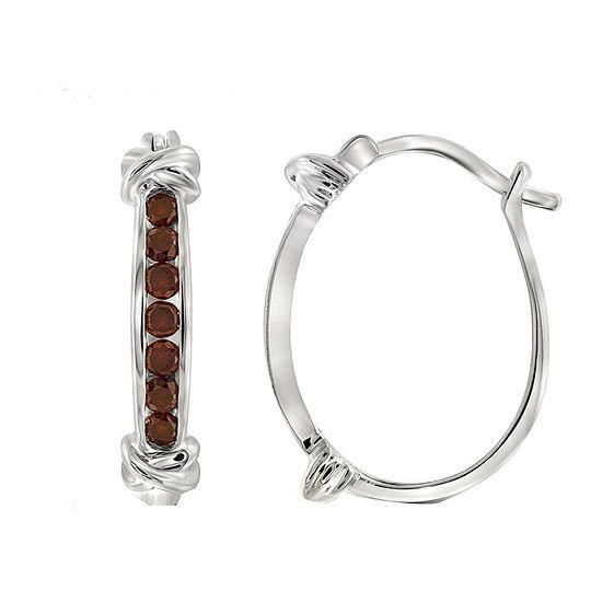 1/2 CT. T.W. Color-Enhanced Red Diamond Sterling Silver Hoop Earrings
