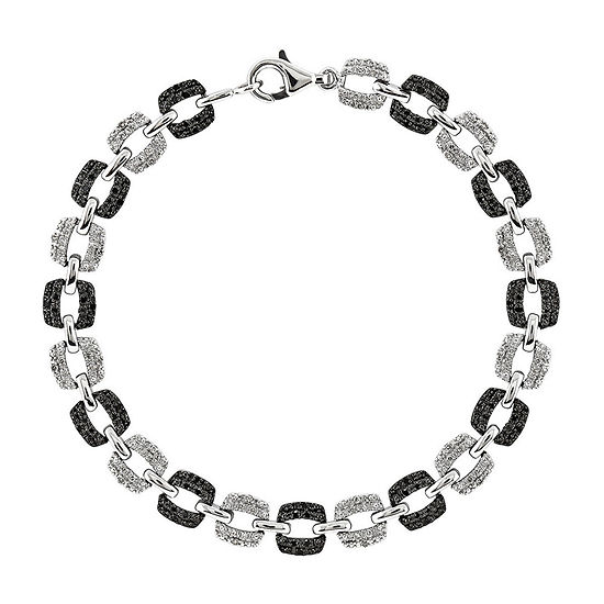 1/2 CT. T.W. White and Color-Enhanced Black Diamond Sterling Silver Bracelet