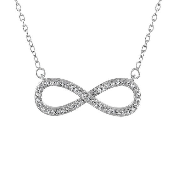 Womens 1/10 CT. T.W. Genuine White Diamond Sterling Silver Infinity Pendant Necklace