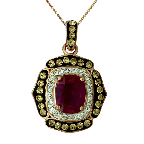 14K Rose Gold Over Silver Red Crystal Pendant