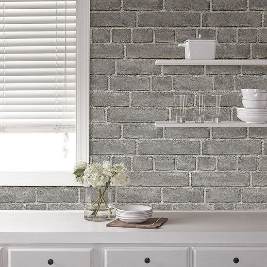 Brewster Wall Grey Brick Facade Peel and Stick Wallpaper Wall Decal