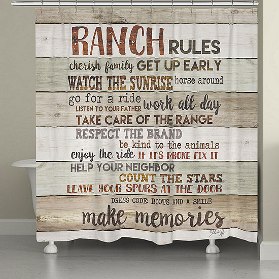 Laural Home Rustic Ranch Rules Shower Curtain