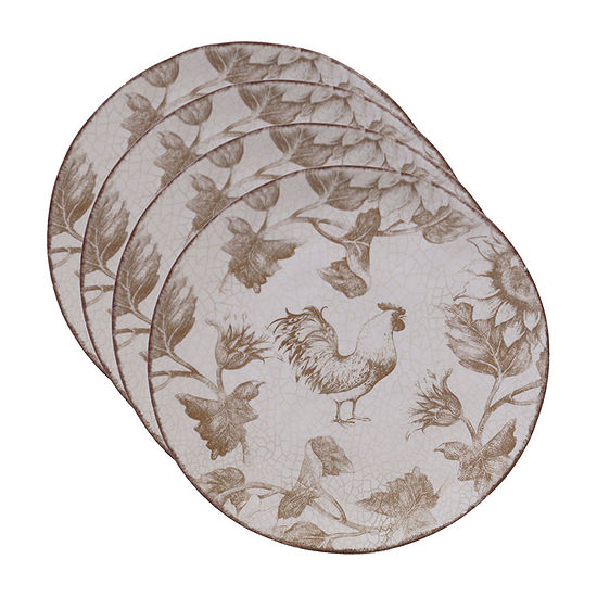Certified International Toile Rooster 4-pc. Salad Plate