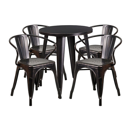 24\'\' Round Metal Indoor/Outdoor Table Set with 4 Arm Chairs
