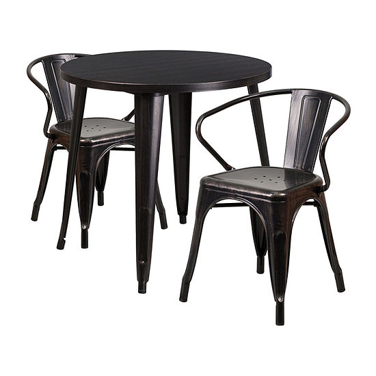 30'' Round Metal Indoor/Outdoor Table Set with 2 Arm Chairs