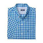 IZOD Big and Tall Advantage Performance Wovens Mens Short Sleeve Cooling Plaid Button-Down Shirt