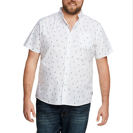 IZOD Big and Tall Advantage Performance Mens Short Sleeve Cooling Animal Button-Down Shirt. 4x-large . White