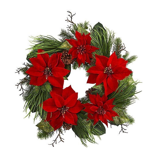 "Nearly Natural 28"" Poinsettia And Pine Wreath Indoor Christmas Wreath"