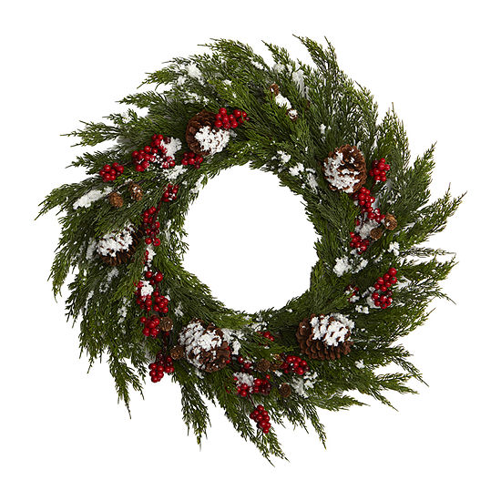 Nearly Natural 28in. Frosted Cypress With Berries And Pine Cones Artificial Wreath Indoor Christmas Wreath