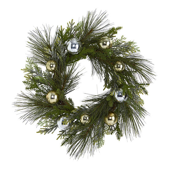 Nearly Natural 26in. Sparkling Pine Artificial Wreath With Decorative Ornaments Indoor Christmas Wreath