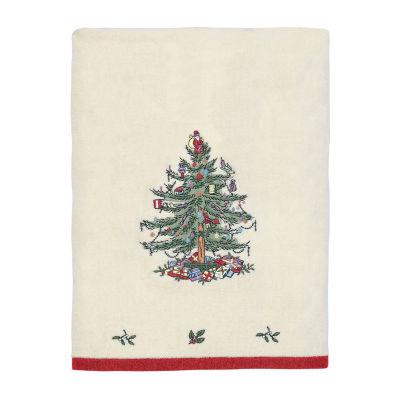Spode Christmas Tree Embroidered Bath Towel Holiday Bath Towel