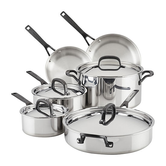 Kitchen Aid 5-Ply Clad Stainless Steel 11-pc. Dishwasher Safe Non-Stick Cookware Set