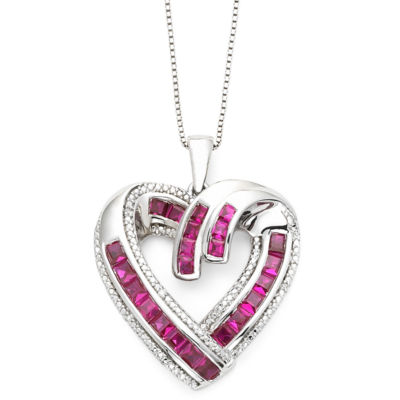 Diamond-Accent & Lab-Created Ruby Heart Pendant Necklace