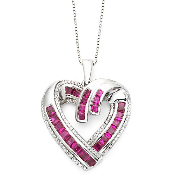 Diamond accent lab created ruby heart pendant diamond accent lab created ruby heart pendant necklace aloadofball Gallery