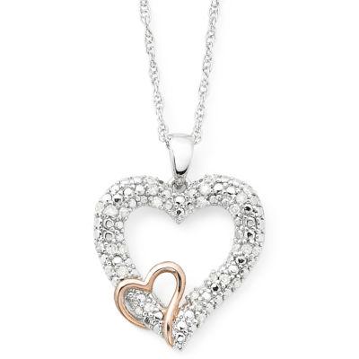 1/5 CT. T.W. Diamond Double-Heart 2-Tone Sterling Pendant Necklace