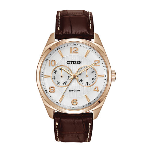 Citizen® Eco-Drive® Mens Brown Leather Strap Watch AO9023-01A