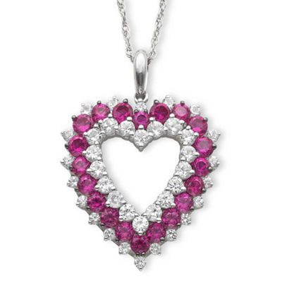Lab-Created Ruby & Lab-Created White Sapphire Heart Pendant Necklace