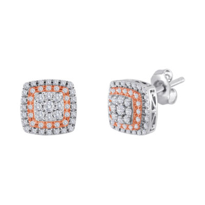 3/8 CT. T.W. Diamond Two-Tone Frame Stud Earrings
