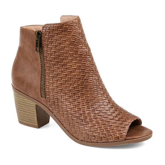 Journee Collection Womens Pilar Booties Stacked Heel Zip