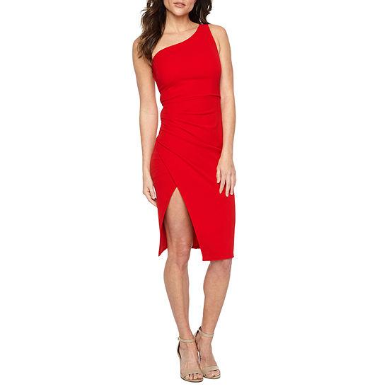 Premier Amour Sleeveless One Shoulder Sheath Dress