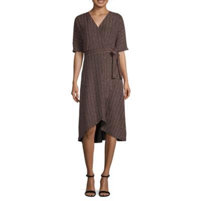 Spense Elbow Sleeve Stripe Wrap Dress