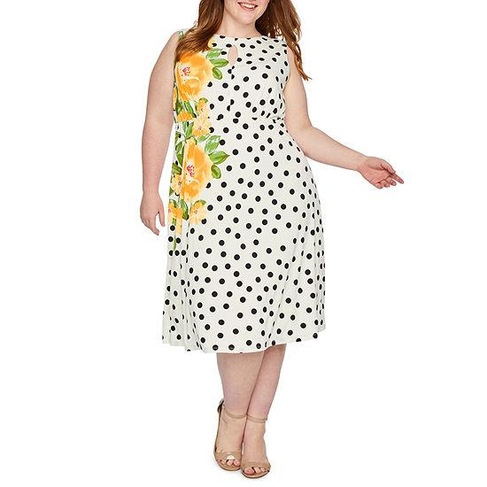 London Times-Plus Sleeveless Polka Dot Midi Fit & Flare Dress