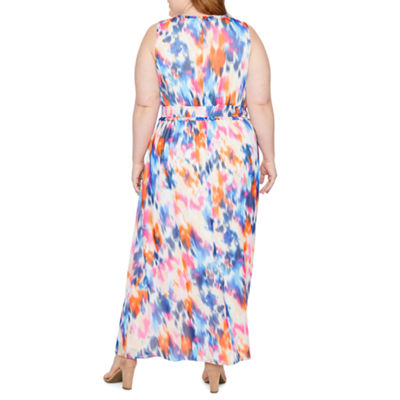 London Times Sleeveless Abstract Maxi Dress-Plus