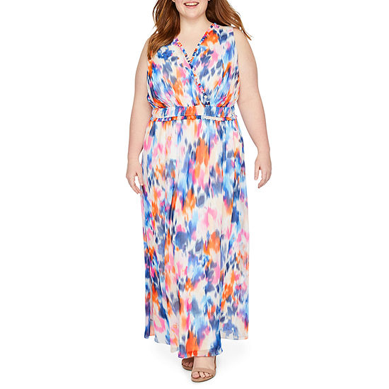 London Times Sleeveless Abstract Maxi Dress Plus