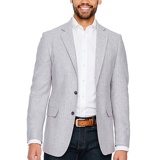 Stafford Linen Cotton Herringbone Classic Fit Sport Coat