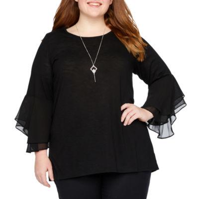 Alyx Womens Round Neck 3/4 Sleeve Knit Blouse-Plus