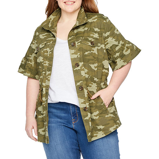 a.n.a Short Ruffle Sleeve Camouflage Anorak - Plus