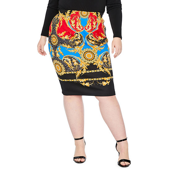 Bold Elements Womens Midi Pencil Skirt-Plus