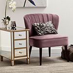 Channeled Back Armless Accent Chair in Luxor Lilac