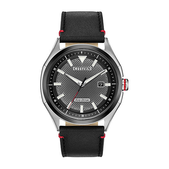 Drive from Citizen Mens Black Leather Strap Watch-Aw1148-09e