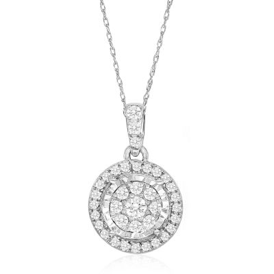 Tru Miracle Womens 1/4 CT. T.W. Genuine White Diamond 10K Gold Pendant