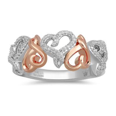 Hallmark Diamonds Womens 1/7 CT. T.W. Genuine White Diamond 14K Rose Gold Over Silver Heart Cocktail Ring