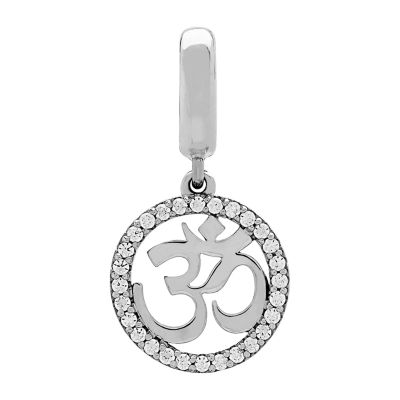 """PS Personal Style """"Om"""" White Cubic Zirconia Sterling Silver Charm"""