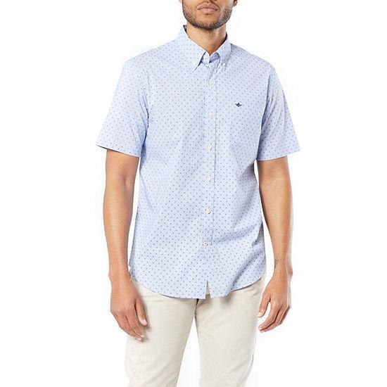Dockers Mens Short Sleeve Circles Button-Front Shirt