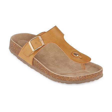 Vintage Sandals | Wedges, Espadrilles – 30s, 40s, 50s, 60s, 70s Arizona French Womens T-Strap Footbed Sandals 9 Medium Beige $18.74 AT vintagedancer.com