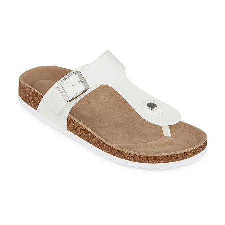Vintage Sandals | Wedges, Espadrilles – 30s, 40s, 50s, 60s, 70s Arizona French Womens T-Strap Footbed Sandals 6 Medium White $18.74 AT vintagedancer.com
