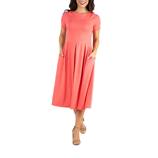 24/7 Comfort Apparel Short Sleeve Skater Dress