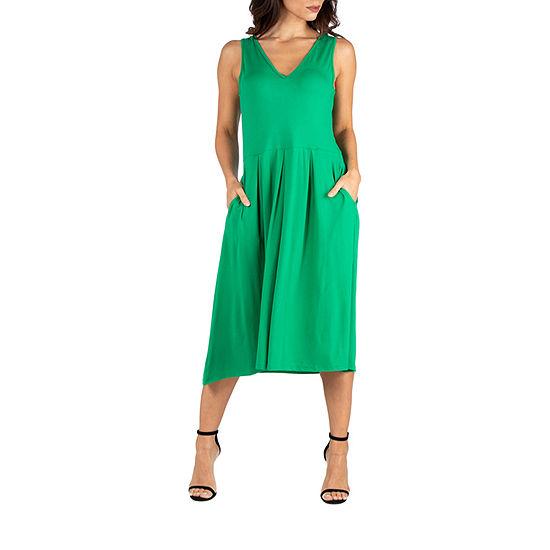 24/7 Comfort Apparel Sleeveless Midi Fit and Flare Dress