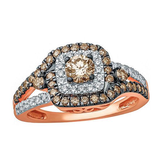 Womens 1 CT. T.W. Genuine Champagne Diamond 10K Gold Engagement Ring