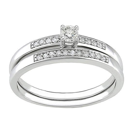 1/5 CT. T.W. Diamond Bridal Ring Set, Sterling Silver