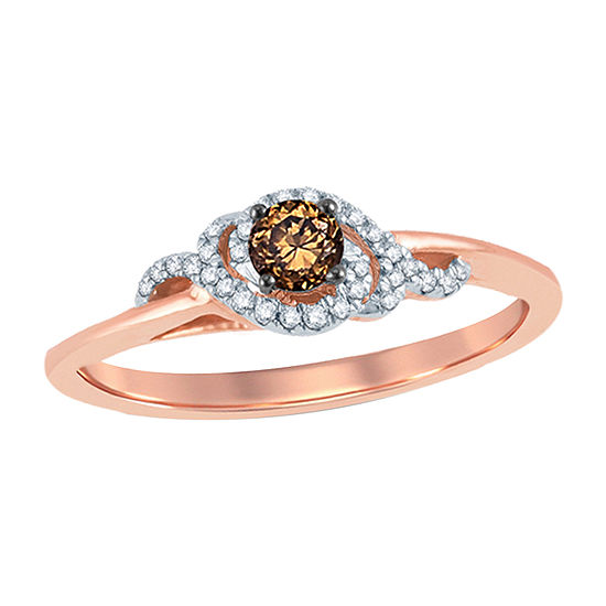 1/4 CT. T.W. Round Champagne Diamond 10K Gold