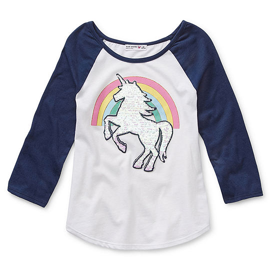 Knit Works Flip Sequin Girls Scoop Neck 3/4 Sleeve Graphic T-Shirt - Preschool / Big Kid