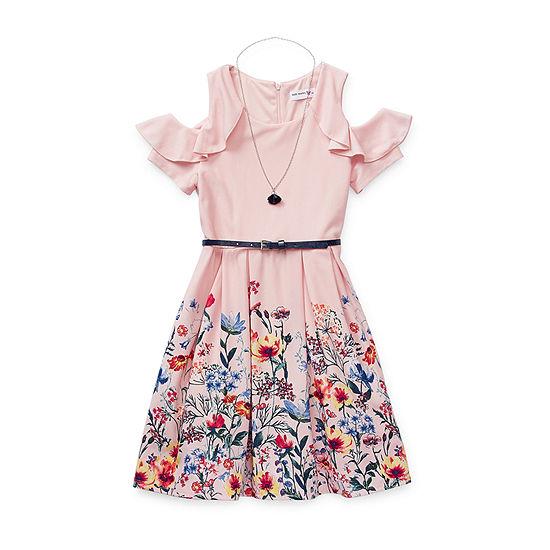 Knit Works Girls Short Sleeve Cold Shoulder Sleeve Skater Dress - Preschool / Big Kid