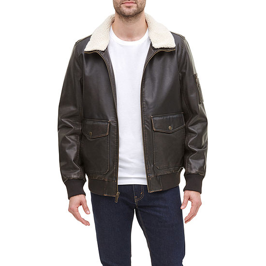 Dockers Faux Leather Sherpa Collar Aviator Bomber Jacket