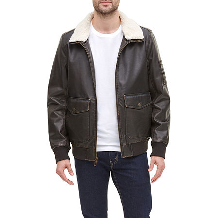 Dockers Faux Leather Sherpa Collar Aviator Bomber Jacket, X-large , Brown